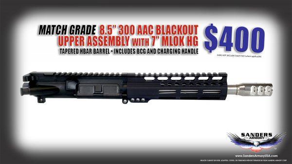 "Sanders Armory 8.5"" 300 Blackout Upper Assembly"
