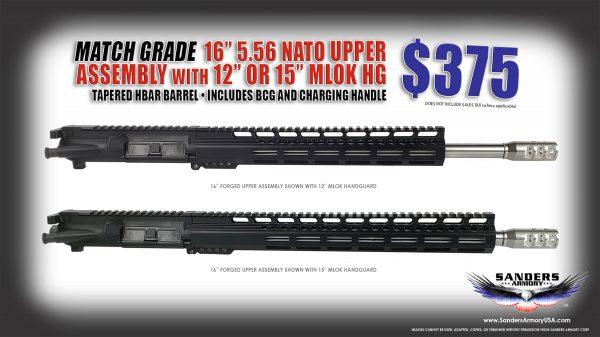 "Sanders Armory 16"" 5.56 NATO Match Grade Upper Assembly"