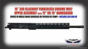 Sanders Armory 16 300 Blackout Parkerized Upper Assembly