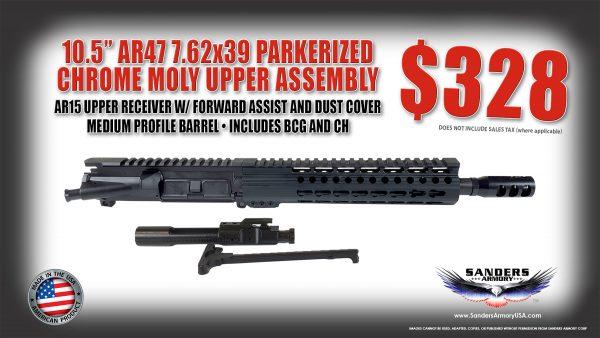 "Sanders Armory AR47 10.5"" 7.62x39 Parkerized Chrome Moly Upper Assembly"