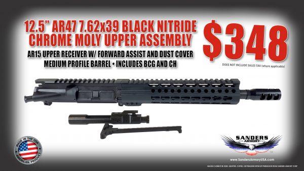 "Sanders Armory AR47 12.5"" 7.62x39 Black Nitride Chrome Moly Upper Assembly"